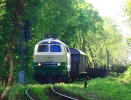218 396-0 Brohltal Eisenbahn am 23.4.2018 in Voerde-Möllen auf dem Weg nach Voerde-Emmelsum.