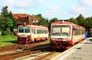 628 506-7 (rechts vorne) am 21.8.2018 in Niebüll, neg Bahnhof.